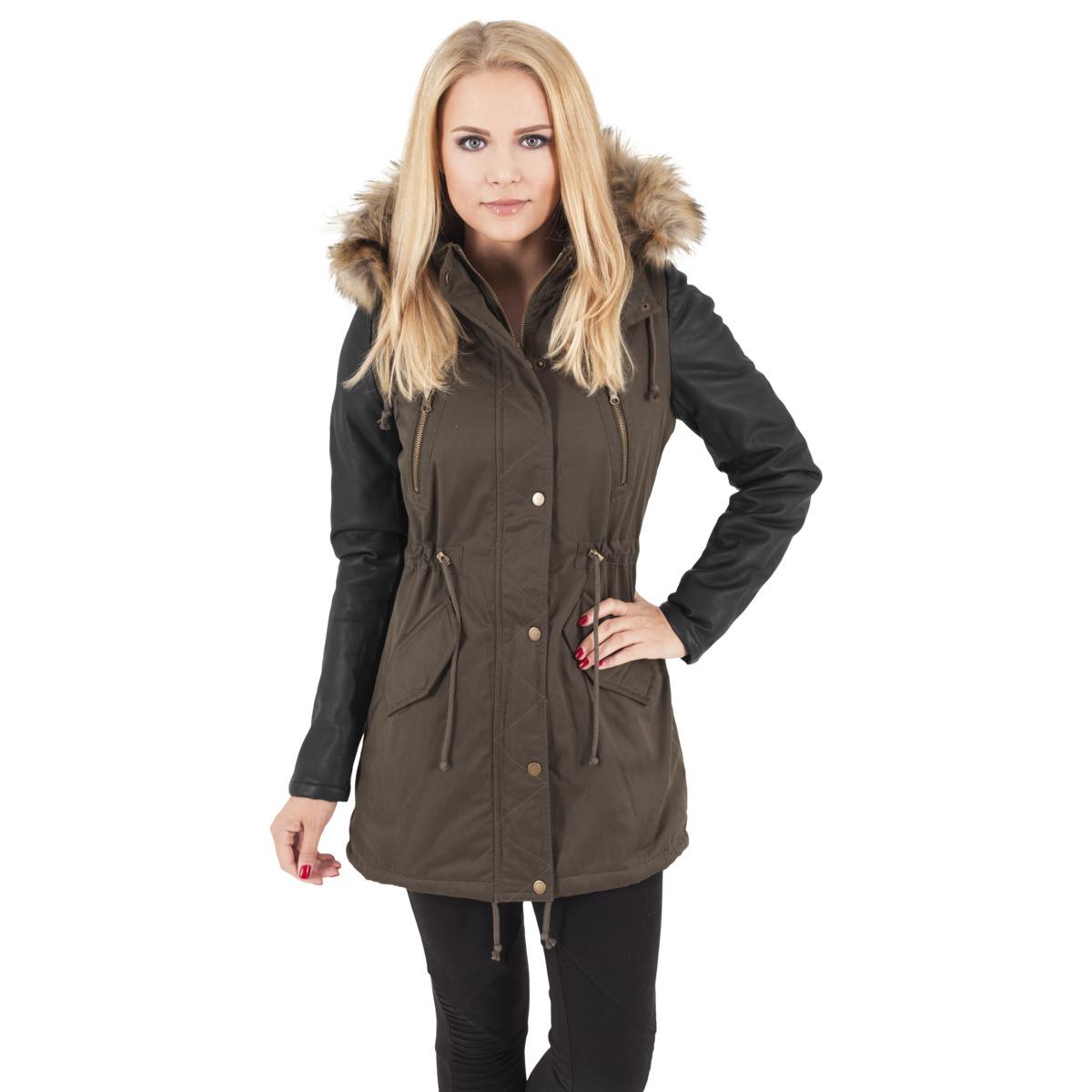 Urban Classics Leather Imitation Sleeve Parka Naisten Talvitakki, oliivi