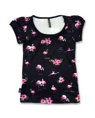 Liquor Brand Flamingos Black - Lady Fit T-paita