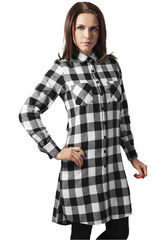 Urban Classics Checked Flanell Shirt Dress - Naisten mekko, valkea