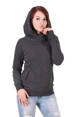 Urban Classics High Neck - Naisten huppari, charcoal