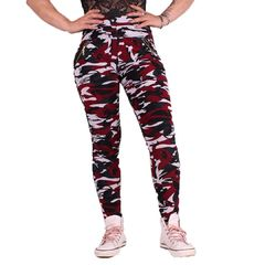 Red Camo Zipper - Legginsit