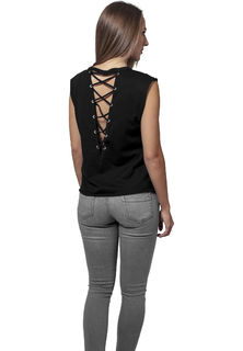 Urban Classics Jersey Lace Up - Toppi, musta