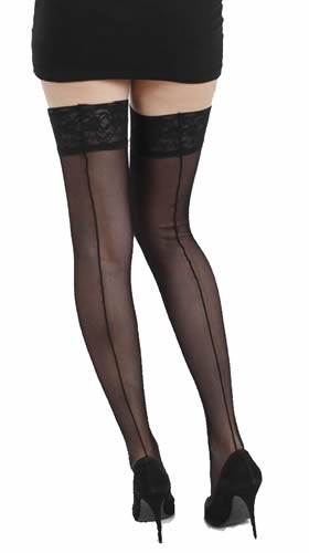 Tulle Seamed Lace Top Hold Ups - Sukat