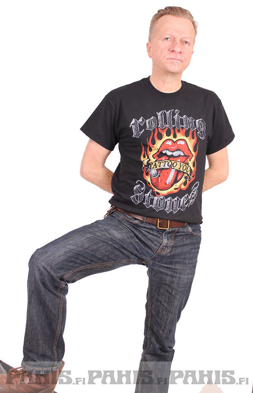 Rolling Stones Flaming Tattoo Tongue - T-paita